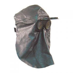 Schutzhaube mit Klappbrille, Vollleder