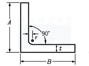Winkelprofil Stahl S235JR – gleichschenklig, rundkantig